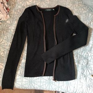 Ralph Lauren leather lined grey sweater